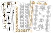 Body Art Metallic Flash Tattoo Bundle 1, 6 Sheets