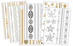 Body Art Metallic Flash Tattoo Bundle 4,  6 Sheets