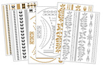Body Art Metallic Flash Tattoo Bundle 5, 6 Sheets