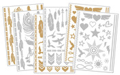 Body Art Metallic Flash Tattoo Bundle 6, 6 Sheets