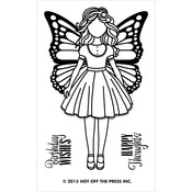 Small Girl W/Butterfly Wings Acrylic Stamps - Hot Off The Press