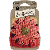 Red - Embellished Burlap Flowers For Pint Jars W/Tie