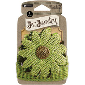 Green - Embellished Burlap Flowers For Pint Jars W/Tie