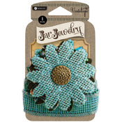 Turquoise - Embellished Burlap Flowers For Pint Jars W/Tie