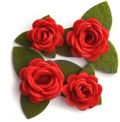 Red Rolled Felt Roses - Queen & Co