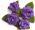 Purple Rolled Felt Roses - Queen & Co