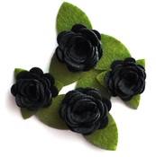 Black Rolled Felt Roses - Queen & Co