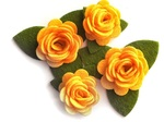 Yellow Rolled Felt Roses - Queen & Co