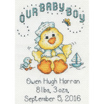 "Our Baby Boy Chick Birth Record Mini Counted Cross Stitch Ki-5""X7"" 14 Count"