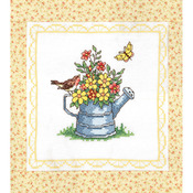 """Stamped Cross Stitch Quilt Blocks 15""""X15"""" 6/Pkg - Spring Watering Can"""