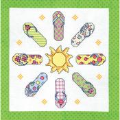 """Stamped Cross Stitch Quilt Blocks 15""""X15"""" 6/Pkg - Flip Flop"""