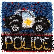 "Wonderart Latch Hook Kit 12""X12""-Police Car"
