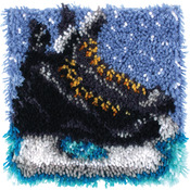 "Wonderart Latch Hook Kit 12""X12""-Hockey Skates"