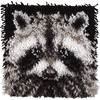 Wonderart Latch Hook Kit 12 X12 -Raccoon Spinrite-Wonderart Latch Hook Kit. These extra shaggy rugs are wonderfully lush and can be made to fit any decor motif. The possibilities are astounding, you can use them on the floor, wall, sofa, bed, window or even make them into pillows and seat cushions. They are easy to make, it would be a wonderful family project! This package contains color coded canvas (50% polyester/50% cotton), pre-cut acrylic rug yarn, a chart and instructions. Hook tool and finishing materials are not included. Finished Size: 12x12 inches. Design: Raccoon. Made in USA.