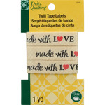 """Dritz Quilting Twill Tape Labels 36""""-Made With Love"""