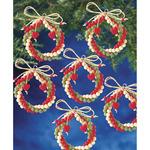 "Holiday Beaded Ornament Kit - Folk Wreaths 2.5"" Makes 12"