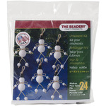 """Holiday Beaded Ornament Kit - Folk Snowmen 3""""X2.75"""" Makes 24"""