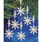"Holiday Beaded Ornament Kit - Snow Crystal Danglers 4""X2"" Makes 8"