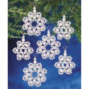 "Holiday Beaded Ornament Kit - Crystal & Pearl Snowflakes 2.5"" Makes 12"
