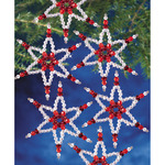 "Holiday Beaded Ornament Kit - Ruby Stars 2.25"" Makes 8"
