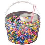 Pearl Multicolor Kandi Kids Pony Bead Bucket Kit