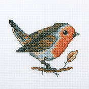 "Redbreast Counted Cross Stitch Kit-4""X4"" 14 Count"