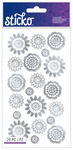 Silver Foil Geo Flowers Classic Sticko Stickers