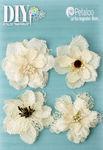 Ivory Burlap Blossoms - DIY Paintables - Petaloo