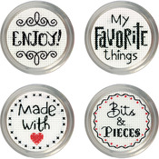 Set Of 4 - Favorite Label Jar Topper Counted Cross Stitch Kit
