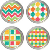 Set Of 4 - Patterns Jar Topper Counted Cross Stitch Kit