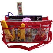 "Clear W/Red Trim - Deluxe Handy Caddy 14""X7""X5"""