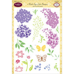 "Multi-Step Lilac Bouquet - JustRite Papercraft Clear Stamp Set 6""X8"""
