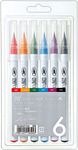 Zig Clean Color Real Brush Markers 6 Pack
