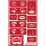 "Faces - Over 'N' Over Reusable Stencils 5""X8"""