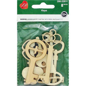 Keys 8/Pkg - Assorted Wood Shapes