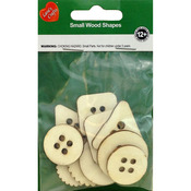 Basic Buttons 10/Pkg - Assorted Wood Shapes