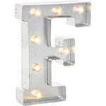 """F - Silver Metal Marquee Letter 9.875"""""""
