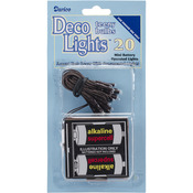 Battery Operated Teeny Bulbs Rice Light Set - 20 Bulbs - White Lights, Brown Cor