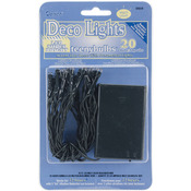 Battery Operated Teeny Bulbs LED Light Set - 20 Bulbs - Multicolored Lights, Gre