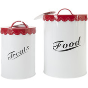 Red - Food & Treat Canister Set