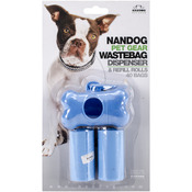 Blue - Nandog Bone Shaped Waste Bag Holder W/40 Bags
