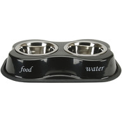 Bone Shaped Double Diner W/2 1pt Stainless Steel Bowls - Food & Water Print Blac