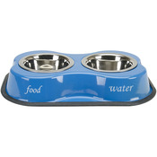 Bone & Paws Print Blue - Bone Shaped Double Diner W/2 1pt Stainless Steel Bowls