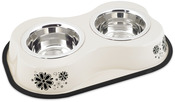 Flower Pattern Ivory - Bone Shaped Double Diner W/2 1pt Stainless Steel Bowls