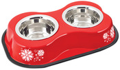 Flower Pattern Red - Bone Shaped Double Diner W/2 1pt Stainless Steel Bowls