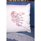 "Stamped Ruffled Edge Pillowcases 30""X20"" 2/Pkg - Carousel Lady"