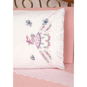 "Stamped Ruffled Edge Pillowcases 30""X20"" 2/Pkg - Lady With Butterflies"