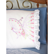 "Stamped Ruffled Edge Pillowcases 30""X20"" 2/Pkg - Umbrella Lady"