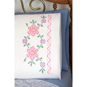 "Stamped Perle Edge Pillowcases 30""X20"" 2/Pkg - Large Flowers"