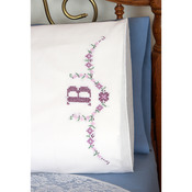 "Stamped Perle Edge Pillowcases 30""X20"" 2/Pkg - Monogram"
